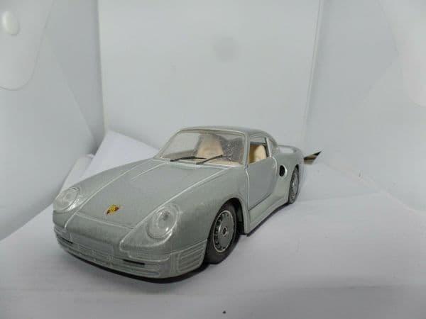 Burago Porsche 959 Turbo 1986 Diecast 1:24 Scale model. Silver Code 0563 Unboxed